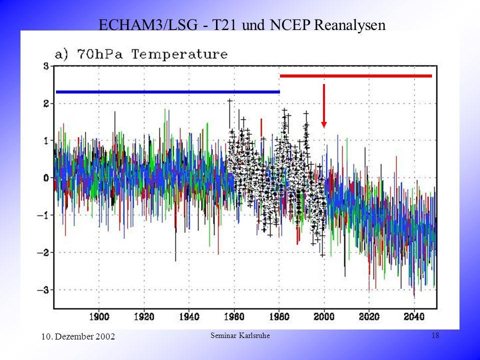 10. Dezember 2002 Seminar Karlsruhe18 ECHAM3/LSG - T21 und NCEP Reanalysen