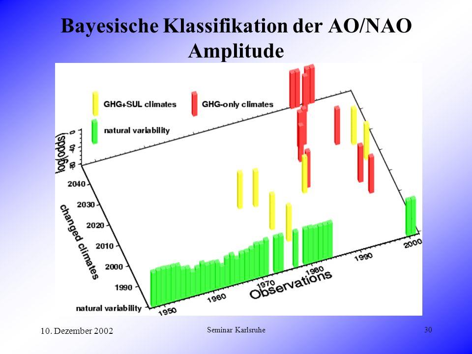 10. Dezember 2002 Seminar Karlsruhe30 Bayesische Klassifikation der AO/NAO Amplitude