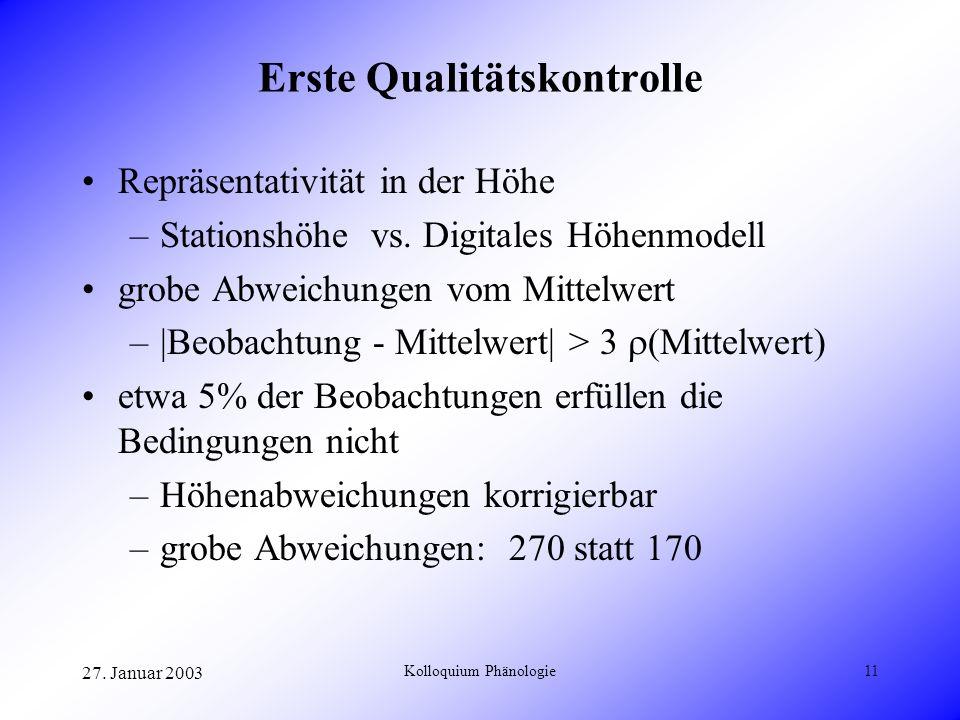 27. Januar 2003 Kolloquium Phänologie11 Erste Qualitätskontrolle Repräsentativität in der Höhe –Stationshöhe vs. Digitales Höhenmodell grobe Abweichun