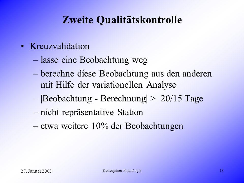 27. Januar 2003 Kolloquium Phänologie13 Zweite Qualitätskontrolle Kreuzvalidation –lasse eine Beobachtung weg –berechne diese Beobachtung aus den ande