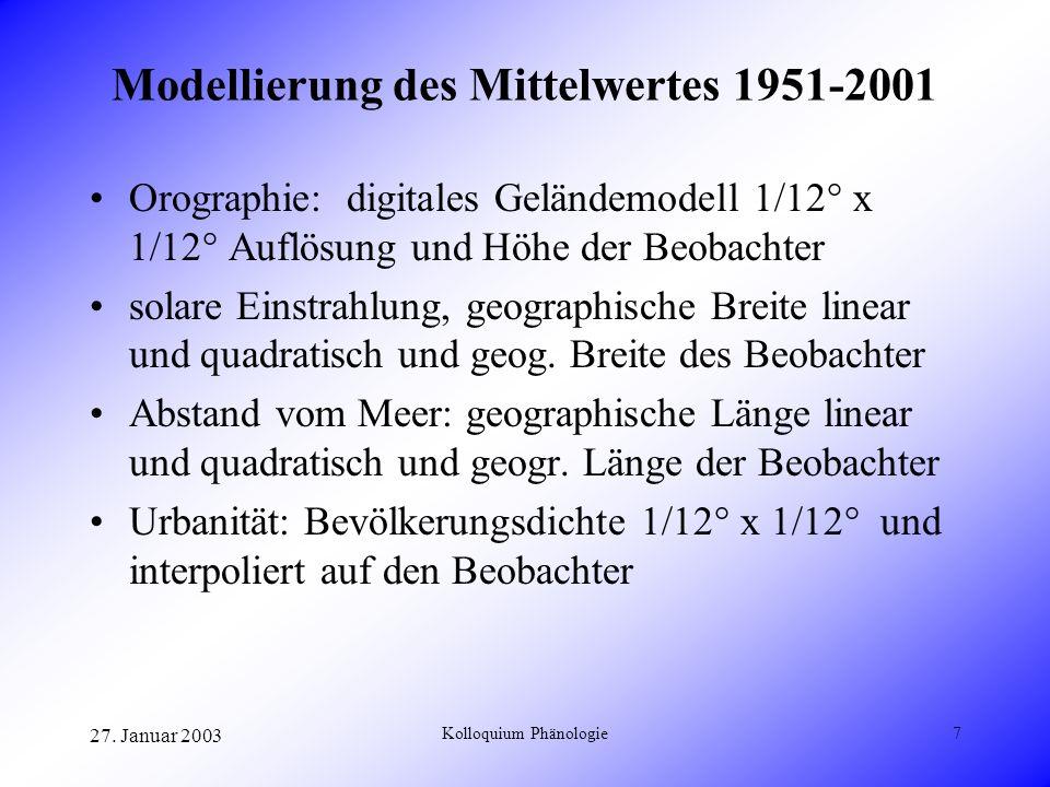 27. Januar 2003 Kolloquium Phänologie7 Modellierung des Mittelwertes 1951-2001 Orographie: digitales Geländemodell 1/12° x 1/12° Auflösung und Höhe de