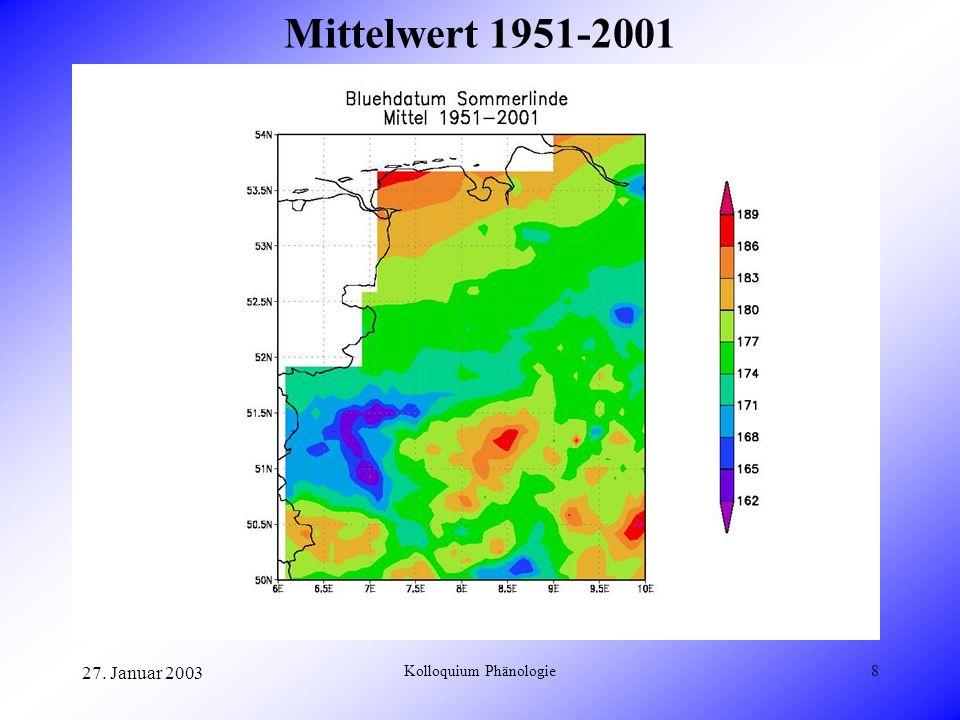 27. Januar 2003 Kolloquium Phänologie8 Mittelwert 1951-2001