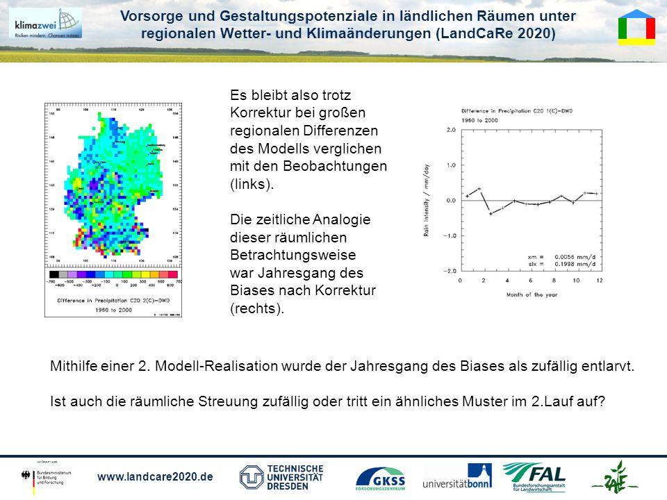 Vorsorge und Gestaltungspotenziale in ländlichen Räumen unter regionalen Wetter- und Klimaänderungen (LandCaRe 2020) www.landcare2020.de Es bleibt also trotz Korrektur bei großen regionalen Differenzen des Modells verglichen mit den Beobachtungen (links).