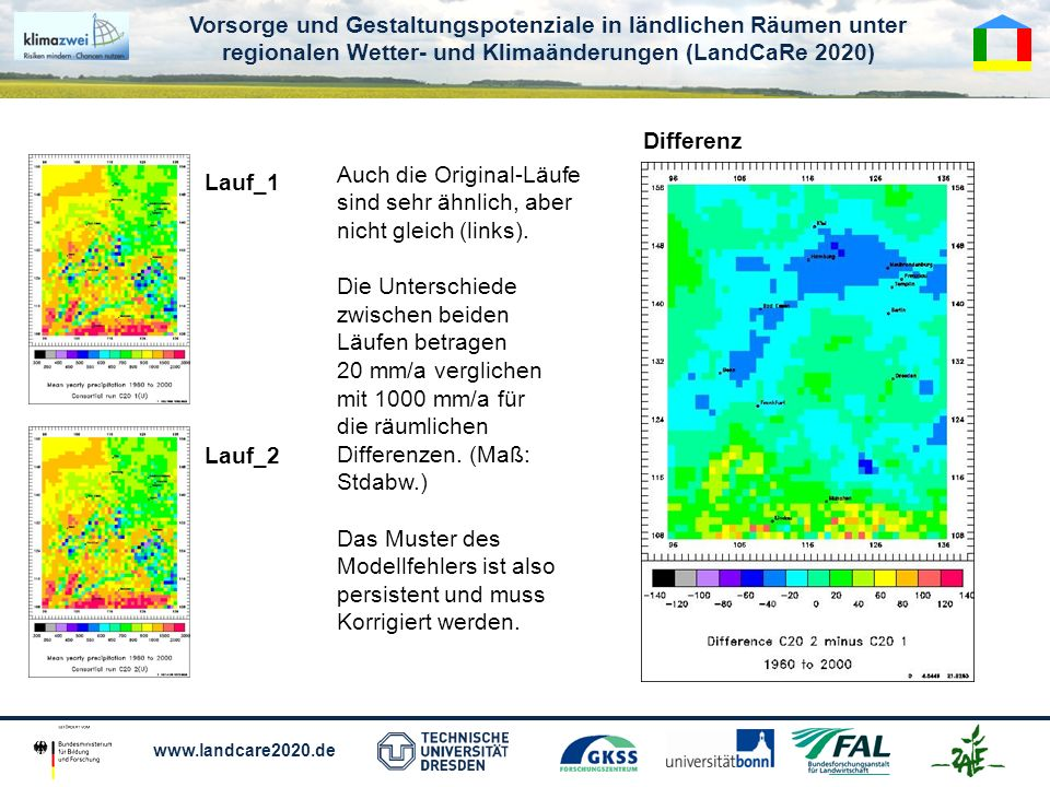 Vorsorge und Gestaltungspotenziale in ländlichen Räumen unter regionalen Wetter- und Klimaänderungen (LandCaRe 2020) www.landcare2020.de Auch die Original-Läufe sind sehr ähnlich, aber nicht gleich (links).