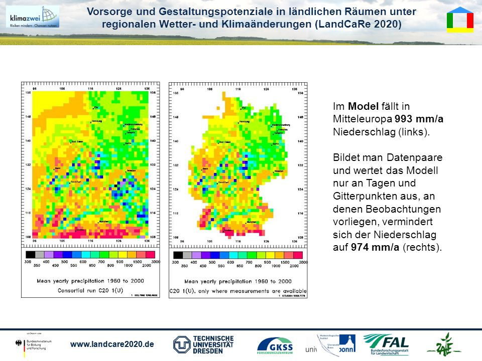 Vorsorge und Gestaltungspotenziale in ländlichen Räumen unter regionalen Wetter- und Klimaänderungen (LandCaRe 2020) www.landcare2020.de Vorsorge und Gestaltungspotenziale in ländlichen Räumen unter regionalen Wetter- und Klimaänderungen (LandCaRe 2020) www.landcare2020.de Im Model fällt in Mitteleuropa 993 mm/a Niederschlag (links).