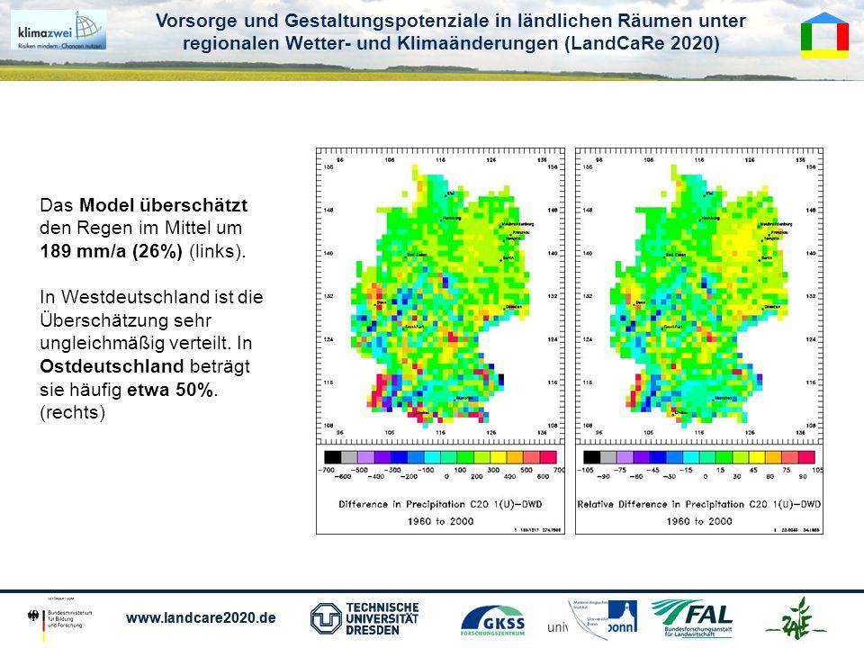 Vorsorge und Gestaltungspotenziale in ländlichen Räumen unter regionalen Wetter- und Klimaänderungen (LandCaRe 2020) www.landcare2020.de Vorsorge und Gestaltungspotenziale in ländlichen Räumen unter regionalen Wetter- und Klimaänderungen (LandCaRe 2020) www.landcare2020.de Das Model überschätzt den Regen im Mittel um 189 mm/a (26%) (links).
