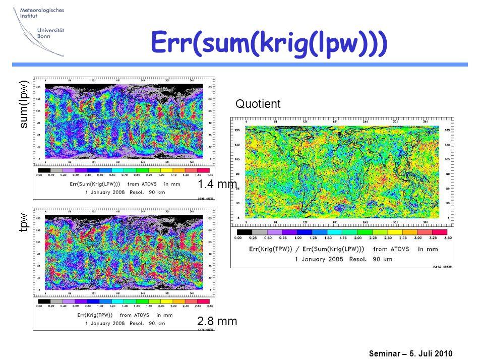 Seminar – 5. Juli 2010 Err(sum(krig(lpw))) 1.4 mm 2.8 mm sum(lpw) tpw Quotient