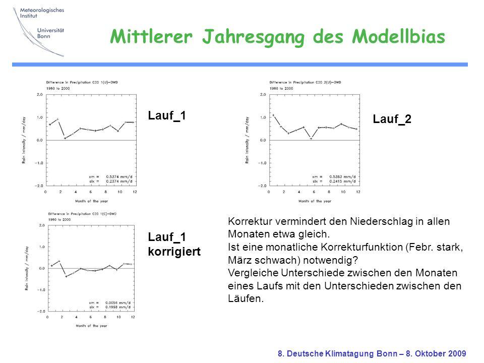 8. Deutsche Klimatagung Bonn – 8. Oktober 2009 Lauf_1 korrigiert Lauf_2 Korrektur vermindert den Niederschlag in allen Monaten etwa gleich. Ist eine m