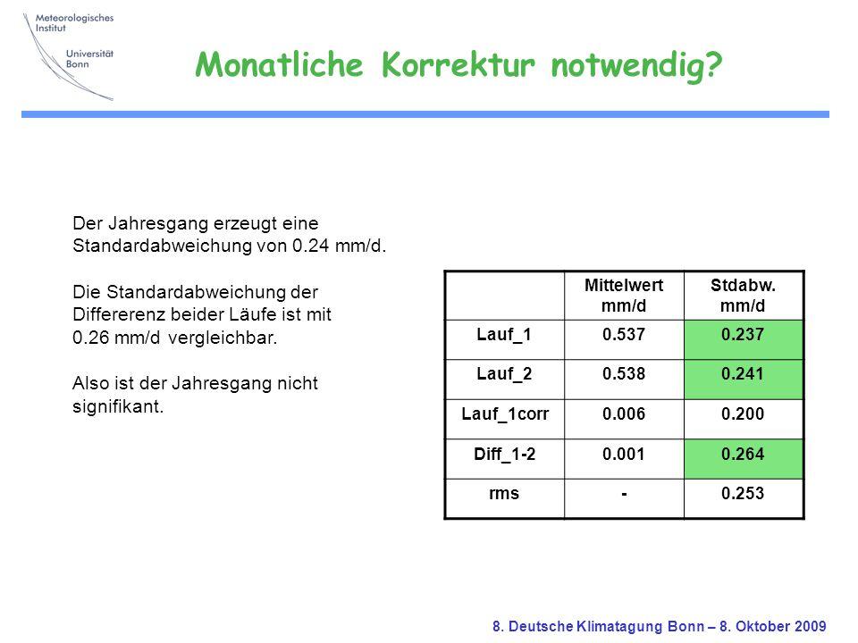 8. Deutsche Klimatagung Bonn – 8. Oktober 2009 Der Jahresgang erzeugt eine Standardabweichung von 0.24 mm/d. Die Standardabweichung der Differerenz be