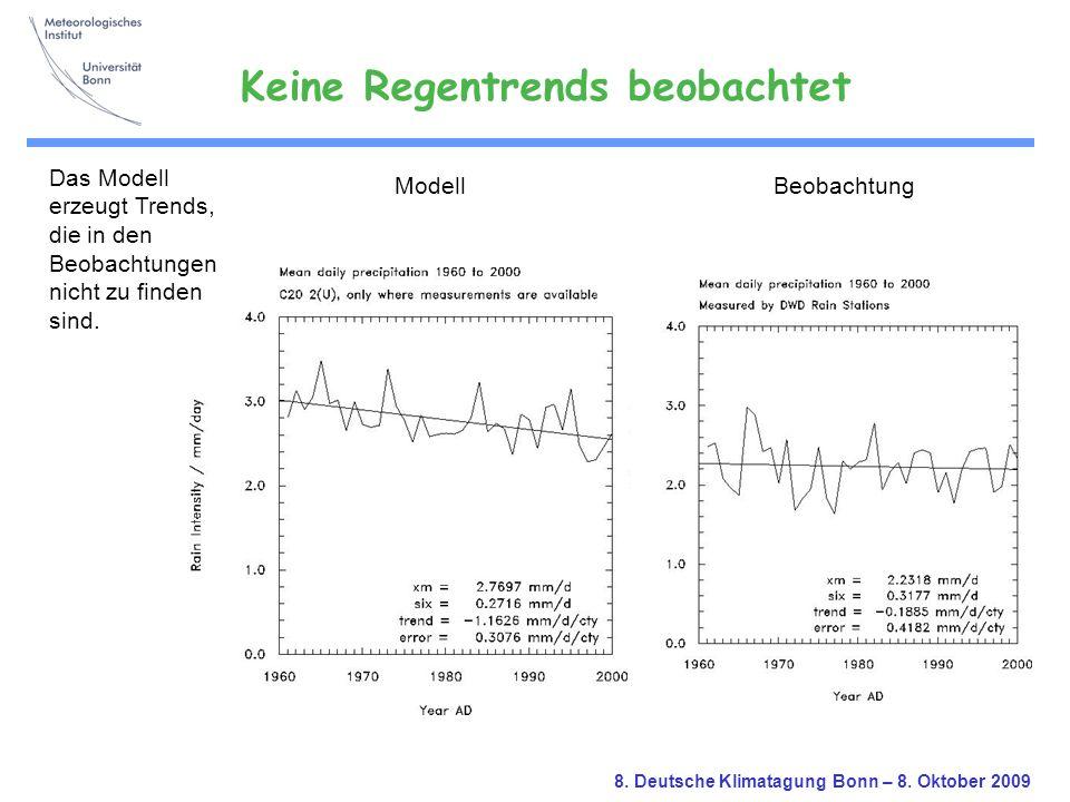 8. Deutsche Klimatagung Bonn – 8. Oktober 2009 ModellBeobachtung Das Modell erzeugt Trends, die in den Beobachtungen nicht zu finden sind. Keine Regen