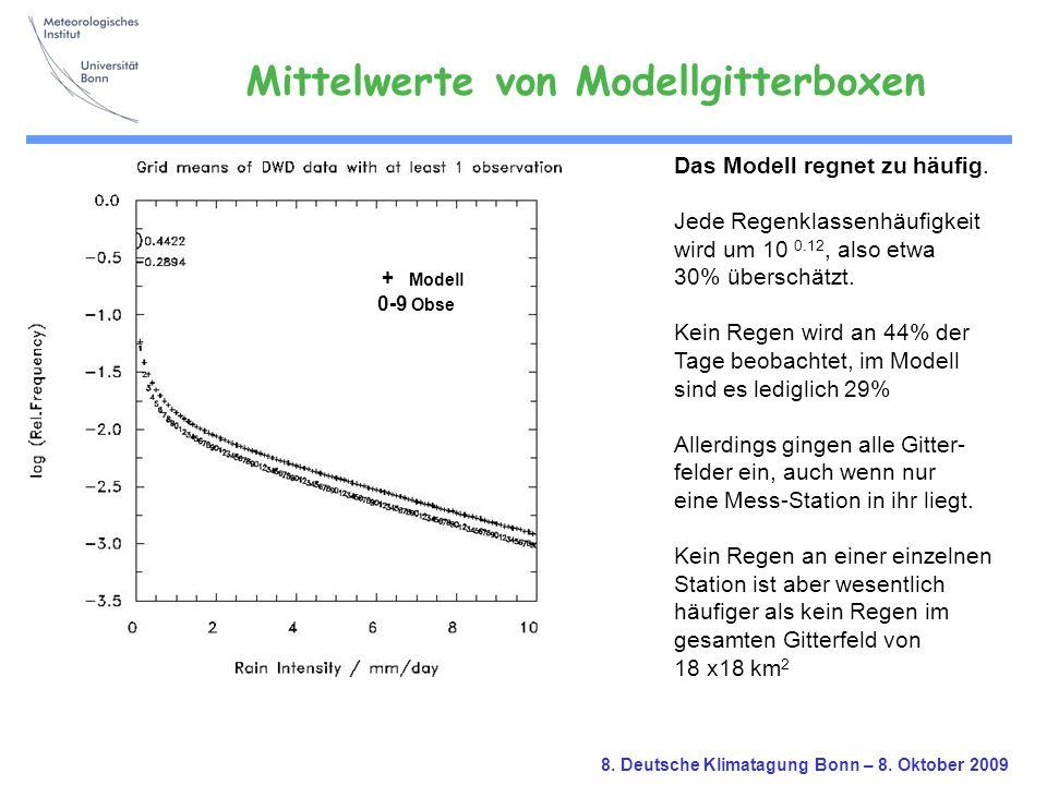 8. Deutsche Klimatagung Bonn – 8. Oktober 2009 Das Modell regnet zu häufig. Jede Regenklassenhäufigkeit wird um 10 0.12, also etwa 30% überschätzt. Ke