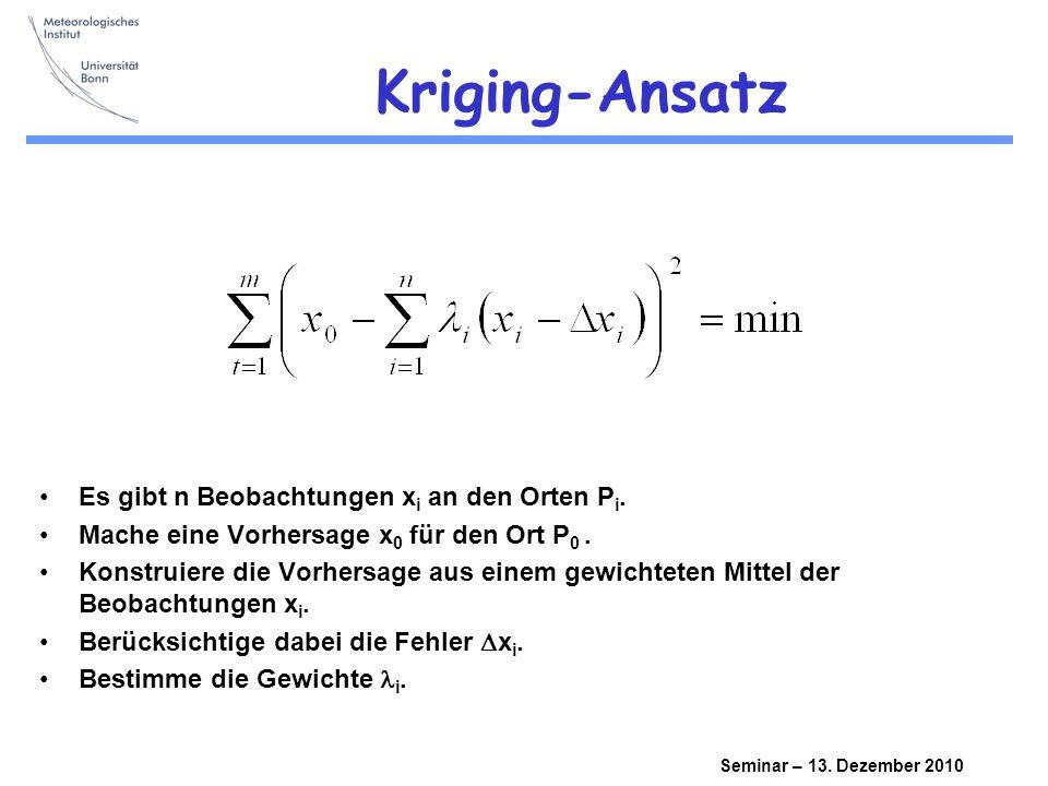 Seminar – 13. Dezember 2010 Matrix und Input Korrelationslänge Var / n