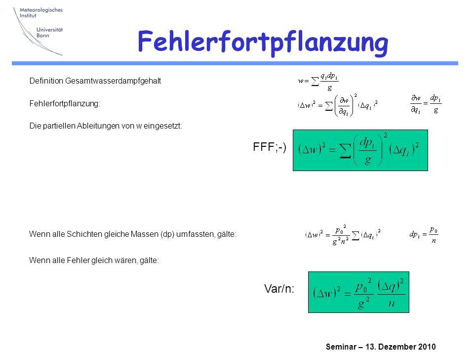 Seminar – 13.Dezember 2010 Fehler für abhängige Schichten Jeweils zwei Schichten sind abhängig.