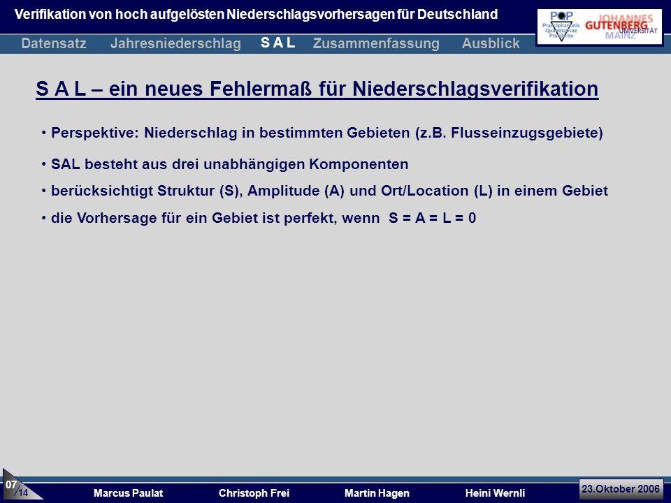 23.Oktober 2006 Marcus Paulat Christoph Frei Martin Hagen Heini Wernli S A L – ein neues Fehlermaß für Niederschlagsverifikation SAL besteht aus drei unabhängigen Komponenten berücksichtigt Struktur (S), Amplitude (A) und Ort/Location (L) in einem Gebiet die Vorhersage für ein Gebiet ist perfekt, wenn S = A = L = 0 Perspektive: Niederschlag in bestimmten Gebieten (z.B.