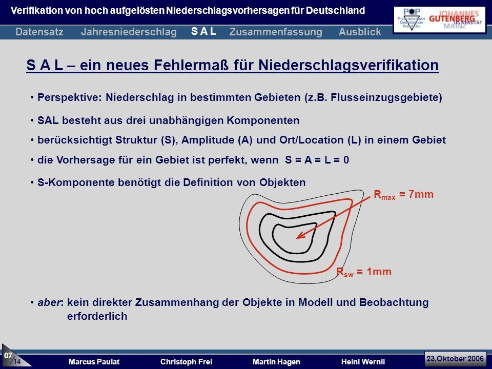 23.Oktober 2006 Marcus Paulat Christoph Frei Martin Hagen Heini Wernli R max = 7mm S A L – ein neues Fehlermaß für Niederschlagsverifikation SAL besteht aus drei unabhängigen Komponenten berücksichtigt Struktur (S), Amplitude (A) und Ort/Location (L) in einem Gebiet die Vorhersage für ein Gebiet ist perfekt, wenn S = A = L = 0 S-Komponente benötigt die Definition von Objekten Perspektive: Niederschlag in bestimmten Gebieten (z.B.