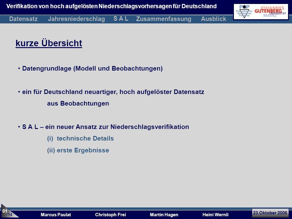 kurze Übersicht 23.Oktober 2006 Marcus Paulat Christoph Frei Martin Hagen Heini Wernli Verifikation von hoch aufgelösten Niederschlagsvorhersagen für