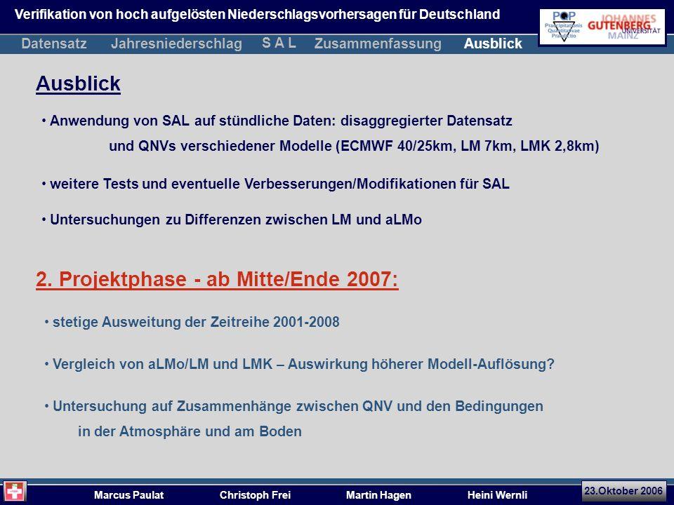 23.Oktober 2006 Marcus Paulat Christoph Frei Martin Hagen Heini Wernli Anwendung von SAL auf stündliche Daten: disaggregierter Datensatz und QNVs verschiedener Modelle (ECMWF 40/25km, LM 7km, LMK 2,8km) Ausblick 2.