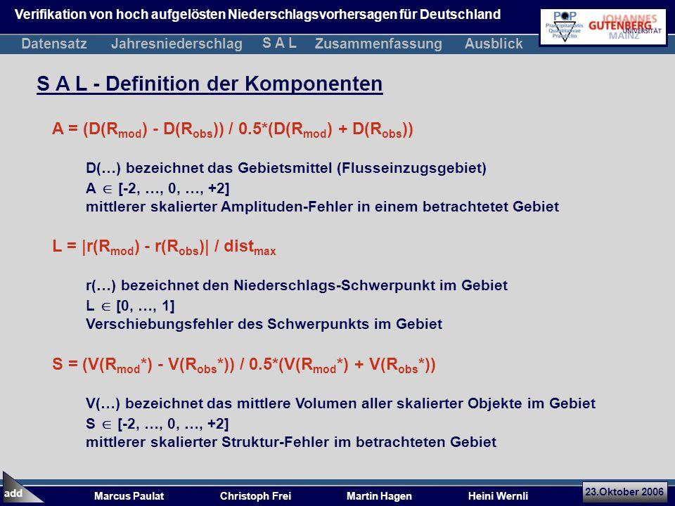 23.Oktober 2006 Marcus Paulat Christoph Frei Martin Hagen Heini Wernli S A L - Definition der Komponenten A = (D(R mod ) - D(R obs )) / 0.5*(D(R mod ) + D(R obs )) D(…) bezeichnet das Gebietsmittel (Flusseinzugsgebiet) A [-2, …, 0, …, +2] mittlerer skalierter Amplituden-Fehler in einem betrachtetet Gebiet L = |r(R mod ) - r(R obs )| / dist max r(…) bezeichnet den Niederschlags-Schwerpunkt im Gebiet L [0, …, 1] Verschiebungsfehler des Schwerpunkts im Gebiet S = (V(R mod *) - V(R obs *)) / 0.5*(V(R mod *) + V(R obs *)) V(…) bezeichnet das mittlere Volumen aller skalierter Objekte im Gebiet S [-2, …, 0, …, +2] mittlerer skalierter Struktur-Fehler im betrachteten Gebiet add Verifikation von hoch aufgelösten Niederschlagsvorhersagen für Deutschland DatensatzJahresniederschlagZusammenfassung S A L Ausblick