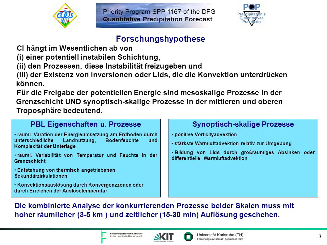 Priority Program SPP 1167 of the DFG Quantitative Precipitation Forecast 4 Anwendung und weitere Entwicklung dieses Ansatzes auf COPS-Daten Reading Chilbolton CAPE in J/kg w in m/s Vertical wind speed at 950 hPa (colour coded) and Lid Index (CAP) in K (numbered) Bisherige Arbeiten CAPE (colour coded) and Lifted Index in K (numbered).