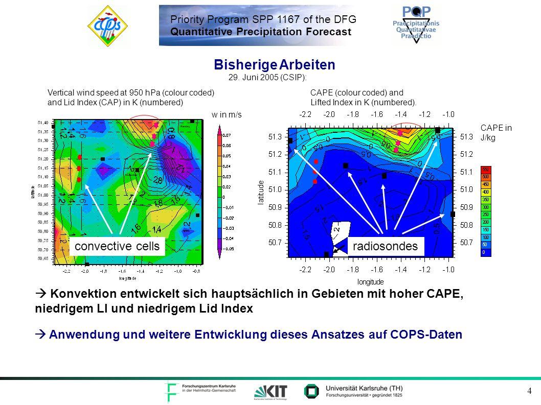 Priority Program SPP 1167 of the DFG Quantitative Precipitation Forecast 4 Anwendung und weitere Entwicklung dieses Ansatzes auf COPS-Daten Reading Ch