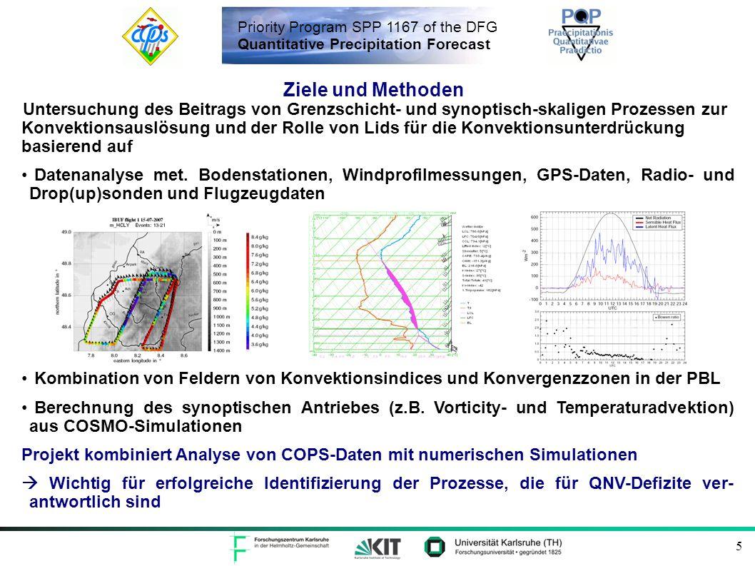 Priority Program SPP 1167 of the DFG Quantitative Precipitation Forecast 6 Datenanalyse und Prozessstudien Erstellung von zeitlich u.