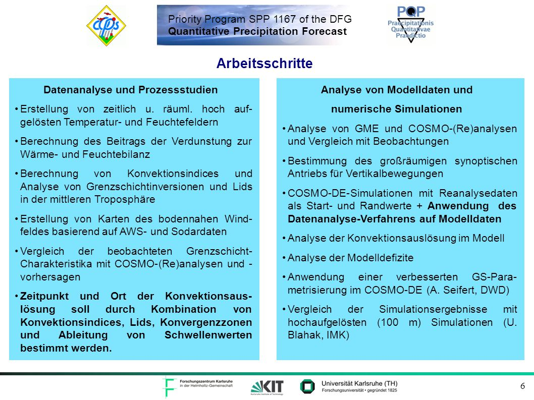 Priority Program SPP 1167 of the DFG Quantitative Precipitation Forecast 6 Datenanalyse und Prozessstudien Erstellung von zeitlich u.