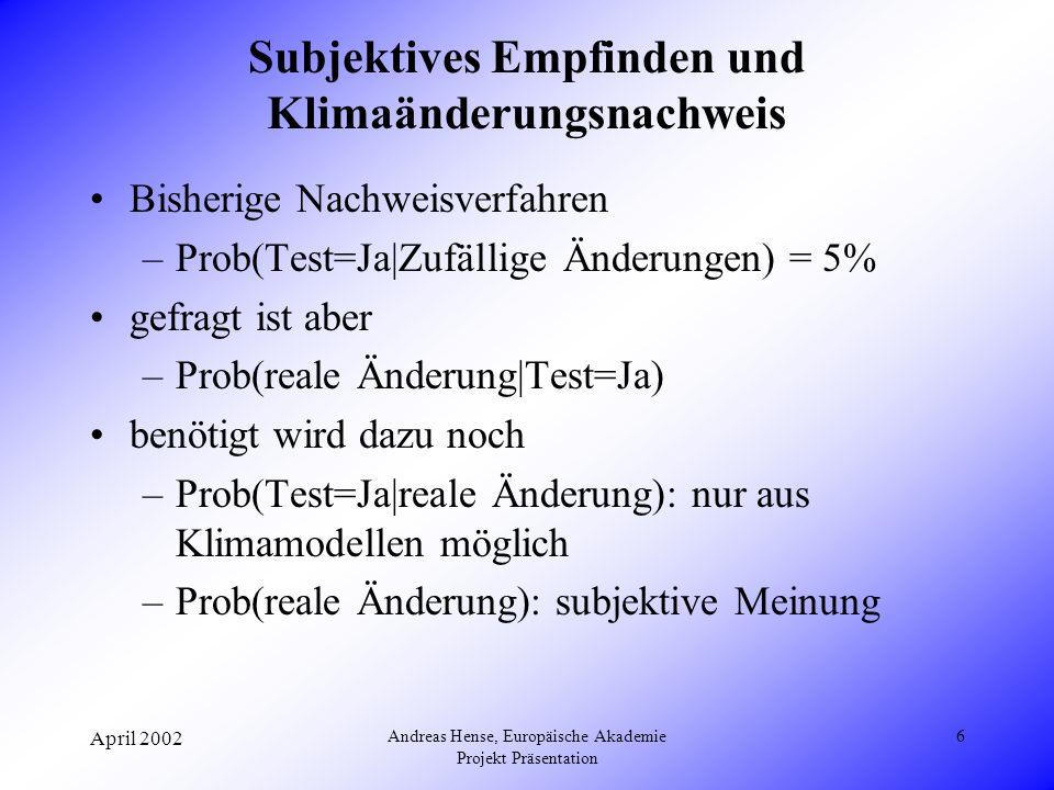April 2002 Andreas Hense, Europäische Akademie Projekt Präsentation 7 Prob(Test=Ja|zufällige Änderung) = 5% Prob(Test=Ja|reale Änderung) Prob(reale Änderung|Test=Ja) Prob(reale Änderung) 10% 50% 90%
