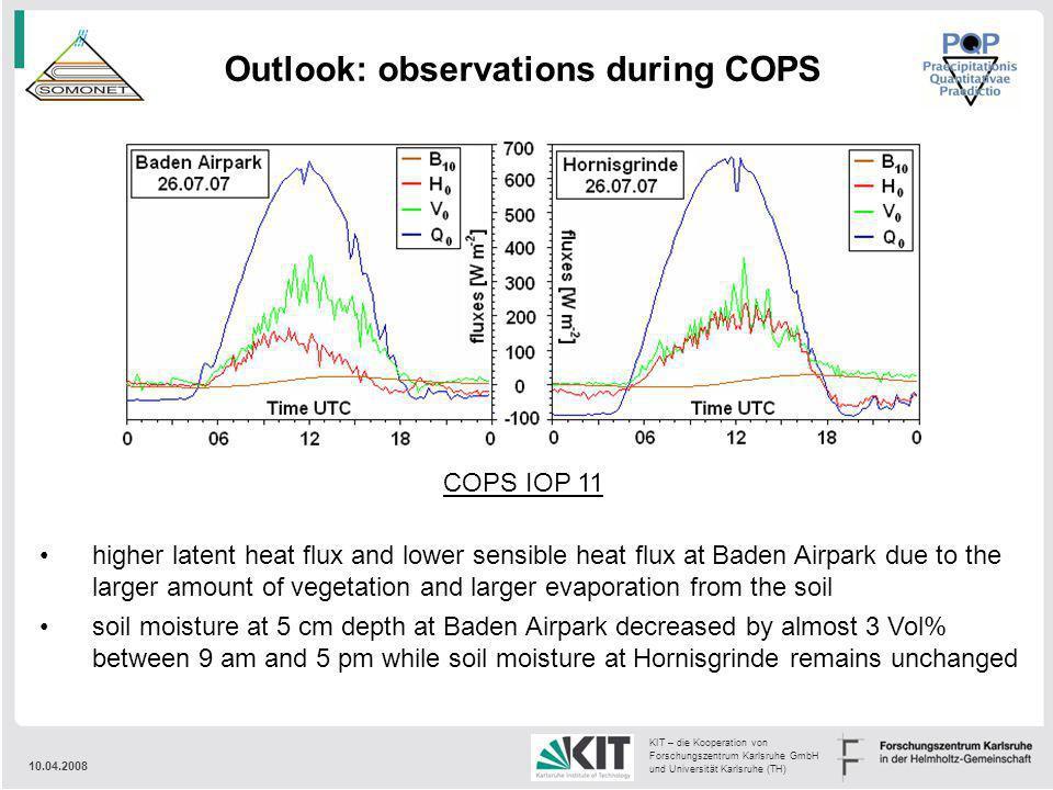 10.04.2008 KIT – die Kooperation von Forschungszentrum Karlsruhe GmbH und Universität Karlsruhe (TH) Outlook: observations during COPS COPS IOP 11 hig