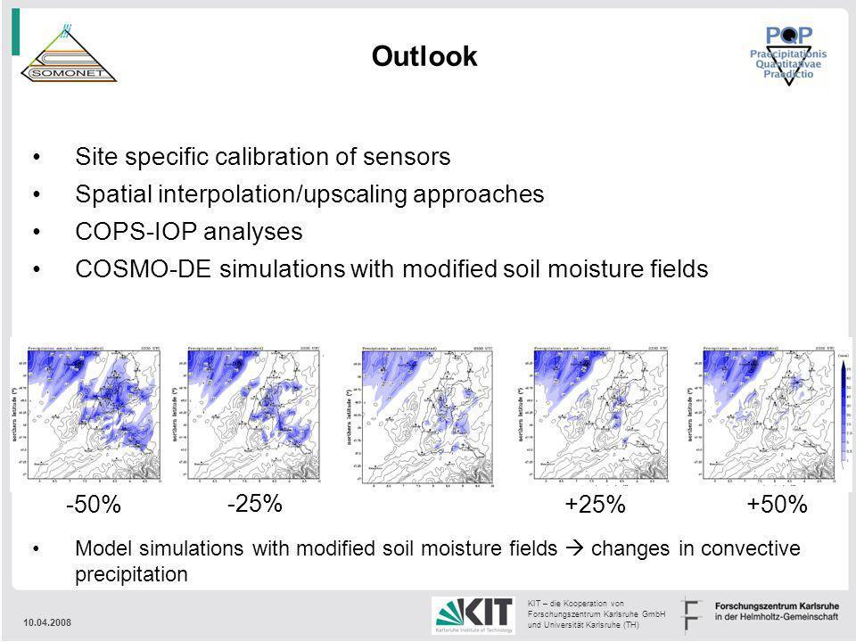 10.04.2008 KIT – die Kooperation von Forschungszentrum Karlsruhe GmbH und Universität Karlsruhe (TH) Outlook Model simulations with modified soil mois