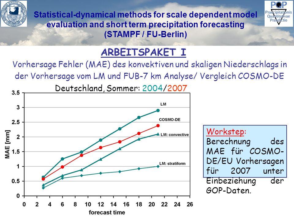 Statistical-dynamical methods for scale dependent model evaluation and short term precipitation forecasting (STAMPF / FU-Berlin) ARBEITSPAKET I Vorher