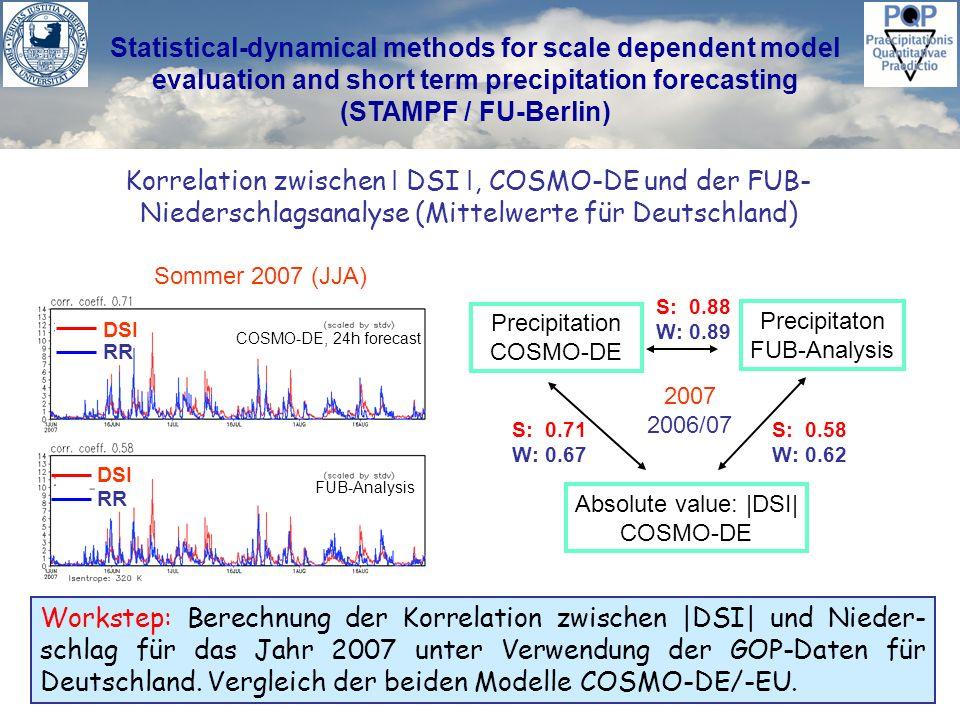 Statistical-dynamical methods for scale dependent model evaluation and short term precipitation forecasting (STAMPF / FU-Berlin) Vertikal-Integral des |DSI| als Dynamische Wolke: IOP 9 Ergebnis: In der COSMO-DE Auflösung von 2.8 km große Konvektions- zellen können im Vertikal-Integral des I DSI I sichtbar gemacht werden.