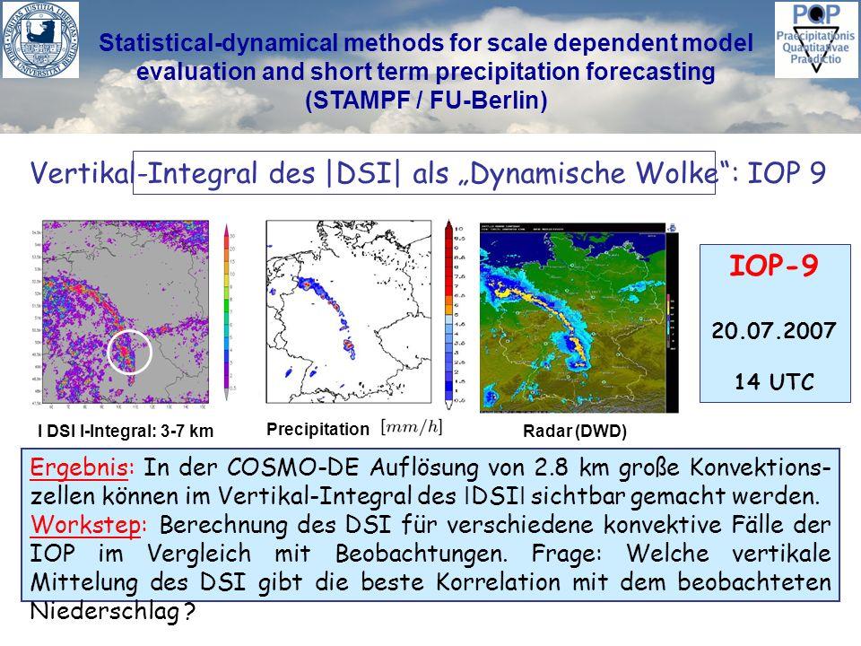 Statistical-dynamical methods for scale dependent model evaluation and short term precipitation forecasting (STAMPF / FU-Berlin) Vertikal-Integral des