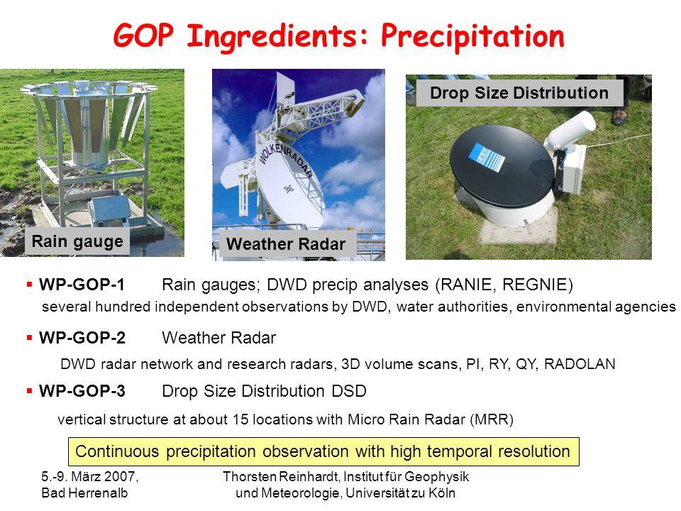 5.-9. März 2007, Bad Herrenalb Thorsten Reinhardt, Institut für Geophysik und Meteorologie, Universität zu Köln Rain gauge GOP Ingredients: Precipitat