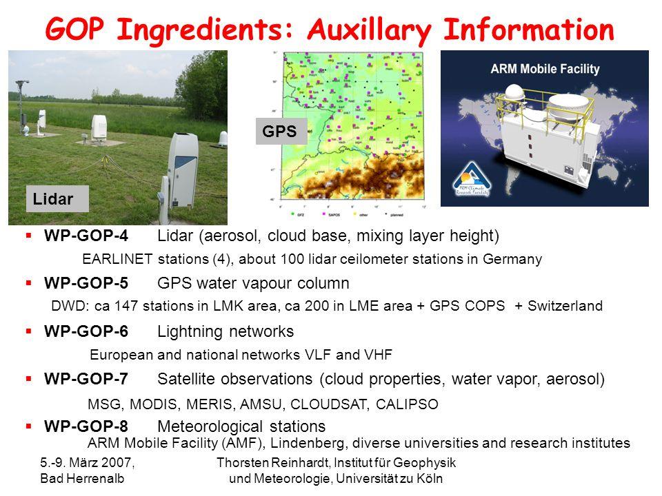 5.-9. März 2007, Bad Herrenalb Thorsten Reinhardt, Institut für Geophysik und Meteorologie, Universität zu Köln WP-GOP-4Lidar (aerosol, cloud base, mi