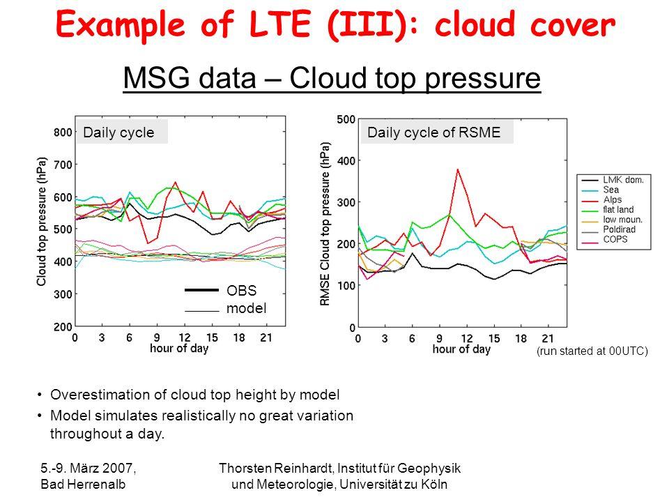 5.-9. März 2007, Bad Herrenalb Thorsten Reinhardt, Institut für Geophysik und Meteorologie, Universität zu Köln MSG data – Cloud top pressure Overesti