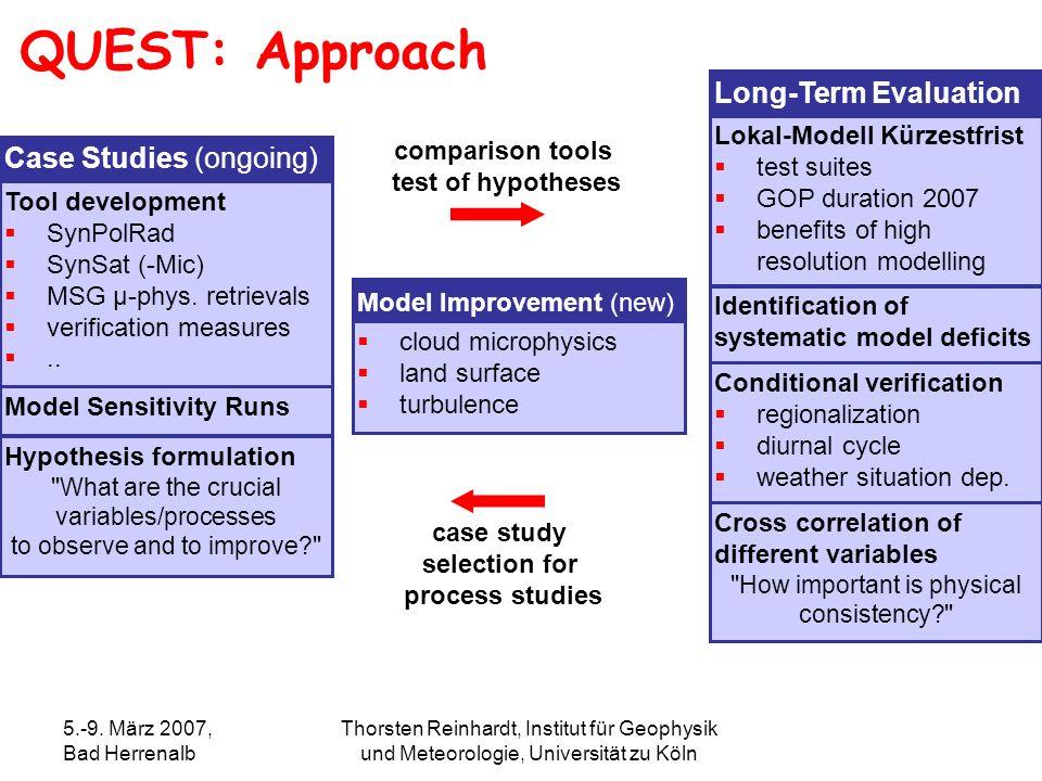 5.-9. März 2007, Bad Herrenalb Thorsten Reinhardt, Institut für Geophysik und Meteorologie, Universität zu Köln QUEST: Approach Case Studies (ongoing)