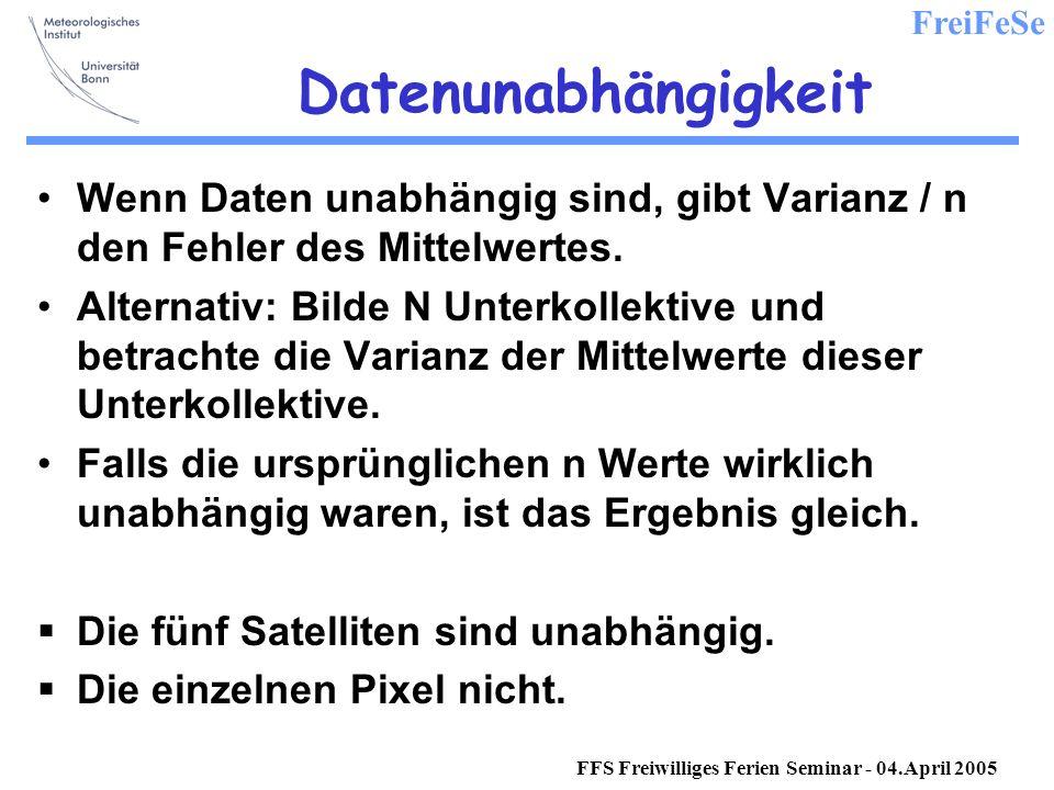 FreiFeSe FFS Freiwilliges Ferien Seminar - 04.April 2005 Datenunabhängigkeit Wenn Daten unabhängig sind, gibt Varianz / n den Fehler des Mittelwertes.