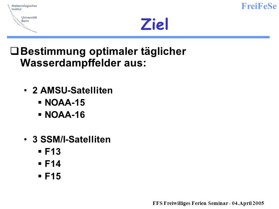 FreiFeSe FFS Freiwilliges Ferien Seminar - 04.April 2005 Ziel Bestimmung optimaler täglicher Wasserdampffelder aus: 2 AMSU-Satelliten NOAA-15 NOAA-16 3 SSM/I-Satelliten F13 F14 F15