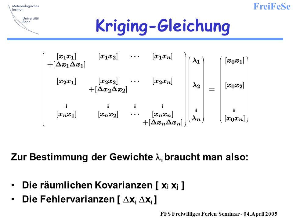 FreiFeSe FFS Freiwilliges Ferien Seminar - 04.April 2005 Kriging-Gleichung Zur Bestimmung der Gewichte i braucht man also: Die räumlichen Kovarianzen [ x i x j ] Die Fehlervarianzen [ x i x i ]
