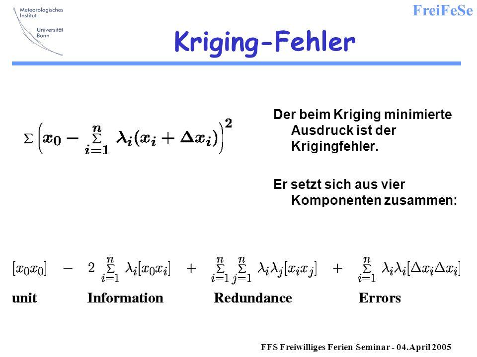FreiFeSe FFS Freiwilliges Ferien Seminar - 04.April 2005 Kriging-Fehler Der beim Kriging minimierte Ausdruck ist der Krigingfehler.