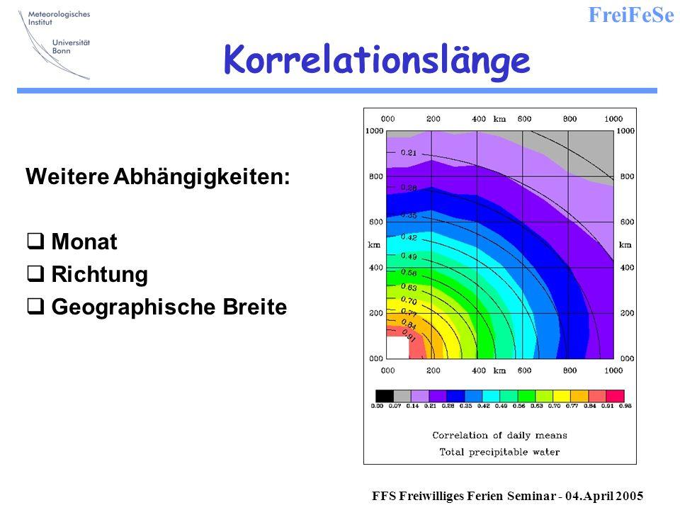 FreiFeSe FFS Freiwilliges Ferien Seminar - 04.April 2005 Korrelationslänge Weitere Abhängigkeiten: Monat Richtung Geographische Breite