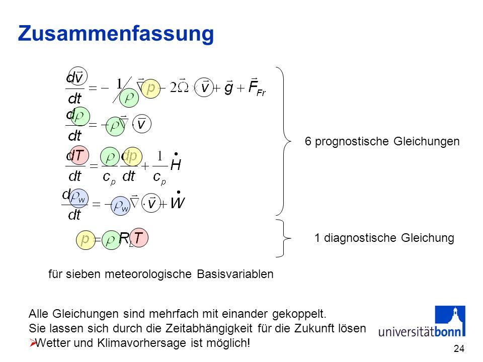 24 Zusammenfassung 6 prognostische Gleichungen 1 diagnostische Gleichung für sieben meteorologische Basisvariablen Alle Gleichungen sind mehrfach mit