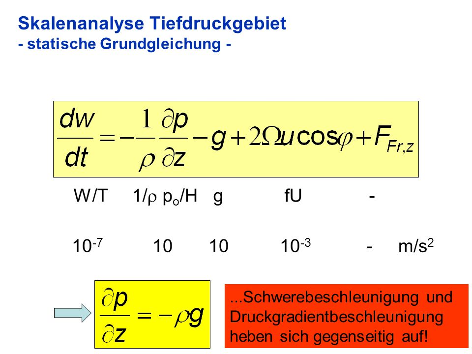 31 Skalenanalyse Tiefdruckgebiet - statische Grundgleichung - W/T 1/ p o /H g fU - 10 -7 10 10 10 -3 - m/s 2...Schwerebeschleunigung und Druckgradient