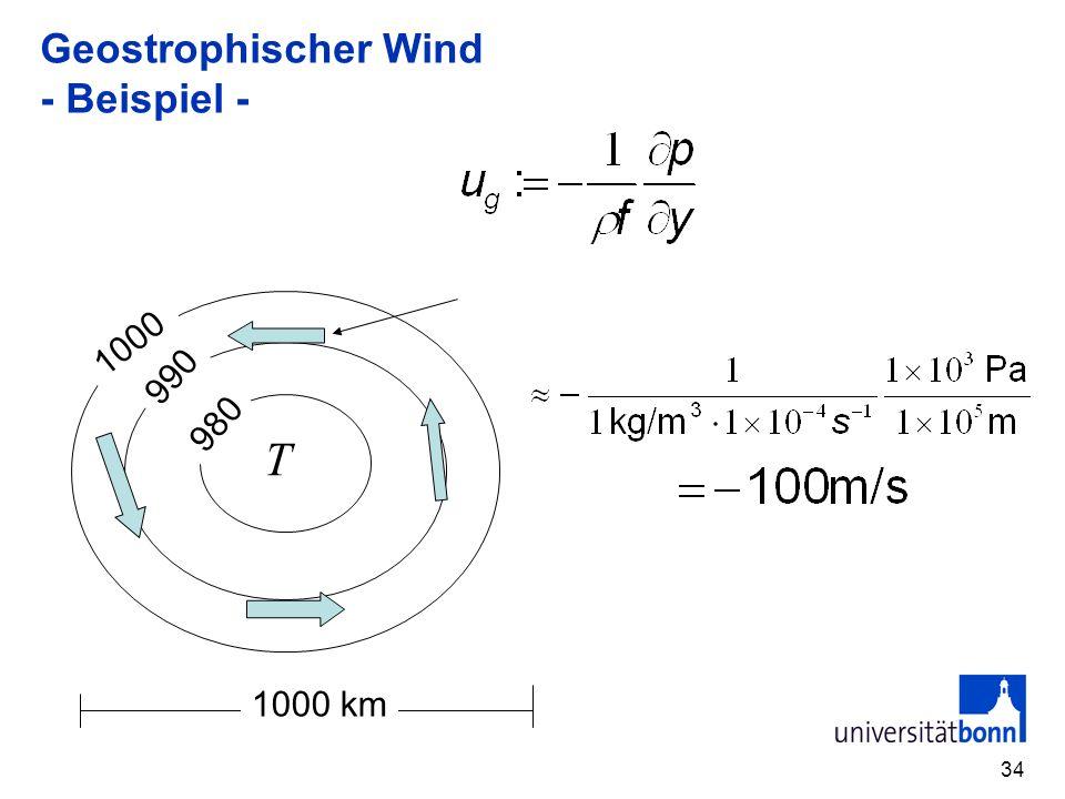 34 Geostrophischer Wind - Beispiel - T 990 980 1000 1000 km