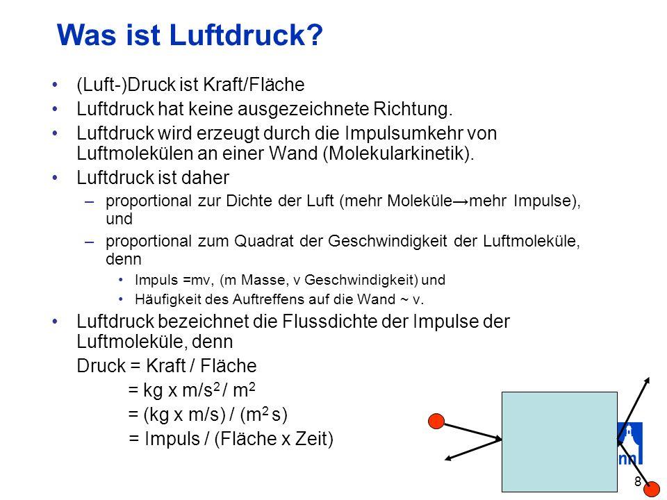 8 Was ist Luftdruck? (Luft-)Druck ist Kraft/Fläche Luftdruck hat keine ausgezeichnete Richtung. Luftdruck wird erzeugt durch die Impulsumkehr von Luft