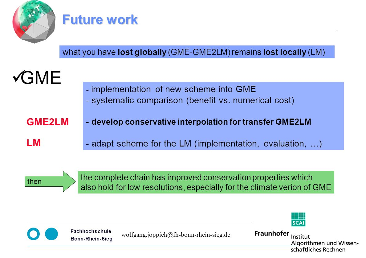 Seite 13 Fachhochschule Bonn-Rhein-Sieg Future work - implementation of new scheme into GME - systematic comparison (benefit vs.