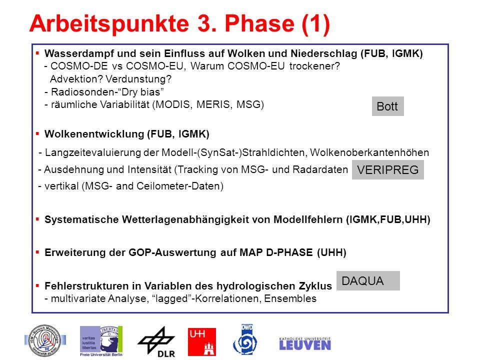 Arbeitspunkte 3. Phase (1) Wasserdampf und sein Einfluss auf Wolken und Niederschlag (FUB, IGMK) - COSMO-DE vs COSMO-EU, Warum COSMO-EU trockener? Adv
