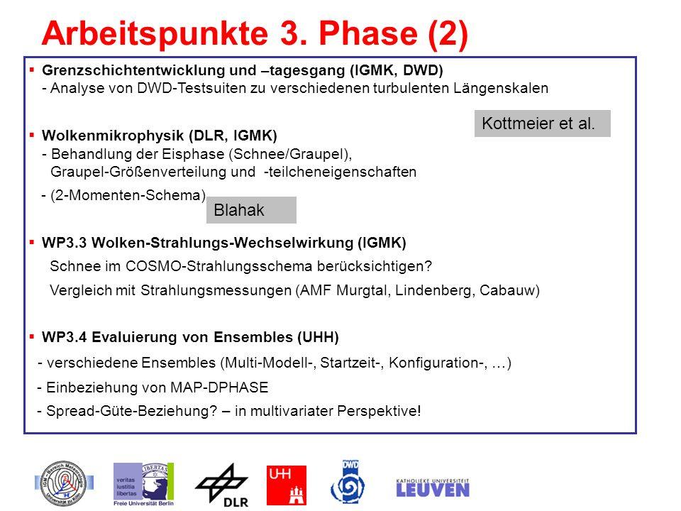 Arbeitspunkte 3. Phase (2) Grenzschichtentwicklung und –tagesgang (IGMK, DWD) - Analyse von DWD-Testsuiten zu verschiedenen turbulenten Längenskalen W