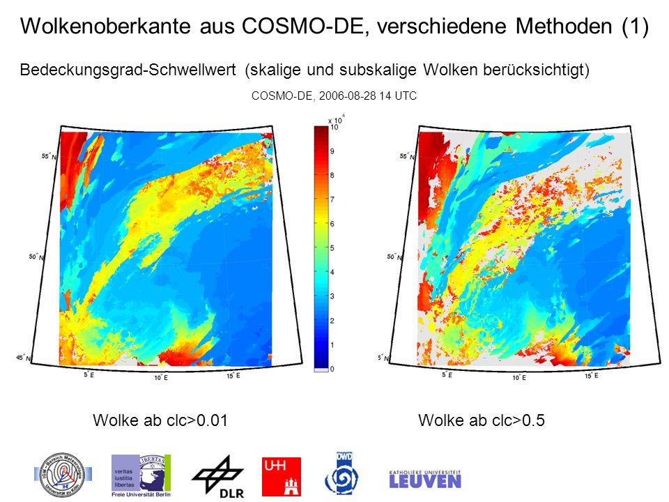 Wolkenoberkante aus COSMO-DE, verschiedene Methoden (1) Bedeckungsgrad-Schwellwert (skalige und subskalige Wolken berücksichtigt) COSMO-DE, 2006-08-28