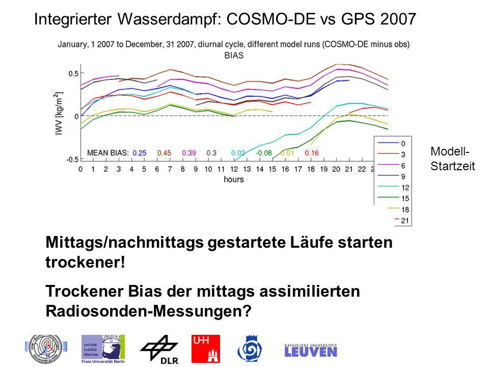 Integrierter Wasserdampf: COSMO-DE vs GPS 2007 Modell- Startzeit Mittags/nachmittags gestartete Läufe starten trockener! Trockener Bias der mittags as